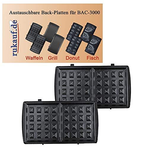Elektrischer Back-Automat Nussbäcker BAC-3000 Nussmaker Waffeleisen 12er - austauschbare Platten (Waffel)