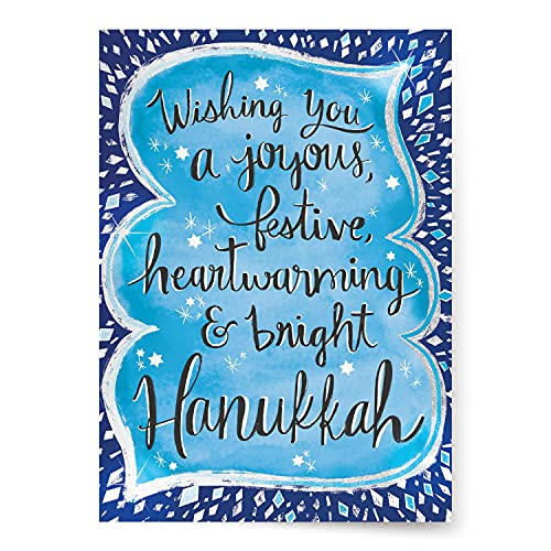 Designer Greetings Boxed Hanukkah Cards, Joyous Festive Heartwarming & Bright Design (Box of 18 Foil/Glitter Accented Cards with Envelopes)