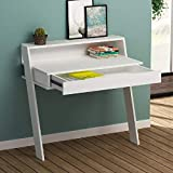 Woodlab Wooden Study Desk for Students Office Table for Home Computer Table with Drawer (White)