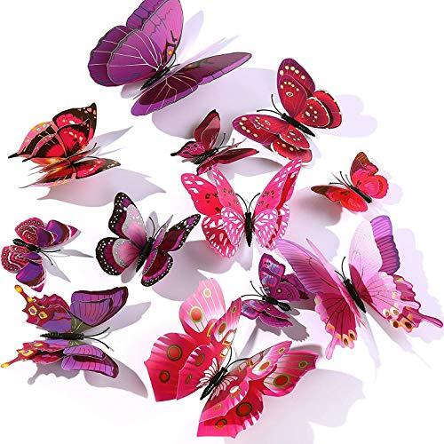 WandSticker4U®- 24er hochwertige 3D SCHMETTERLINGE Doppelflügel & Magnet I Butterfly Dekoration Fenster Möbel Basteln I Deko für Wohnzimmer Kinderzimmer Küche Wand Kühlschrank (Lila+Rosa)