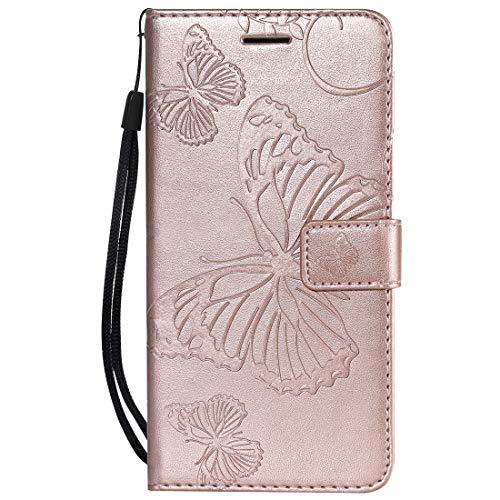 Yiizy Handyhüllen für Huawei Honor 8A Ledertasche, Schmetterling 3D Stil Lederhülle Brieftasche Schutzhülle für Huawei Honor Play 8A hülle Silikon Cover mit Magnetverschluss Kartenfächer (Roségold)