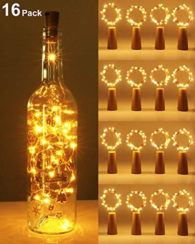 Kolpop luz Corcho, luz de Botella, luces led para Botellas de Vino 2m 20 LED a Pilas Decorativas Alambre Plata Luz para Romántico Boda, Navidad, Fiesta, Hogar, Exterior, Jardín,Blanco Cálido(16 Pack)