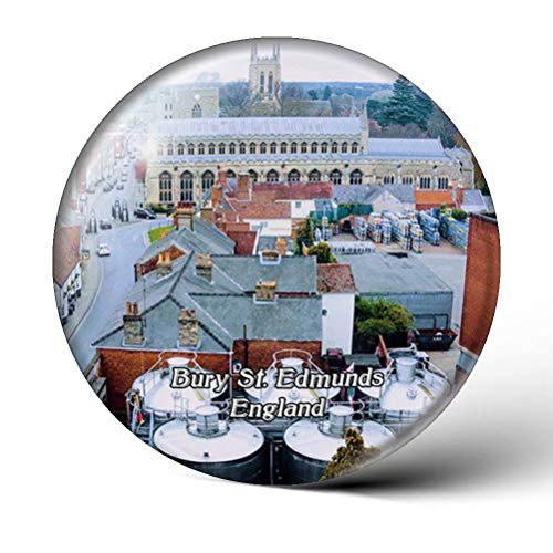 UK England Bury St. Edmunds Greene King Brewery Fridge Magnets Clear Crystal Glass for Refrigerator City Travel Souvenirs Funny Whiteboard Home Decorative Sticker Collection Gifts Round Magnet
