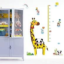 ROOHO Cartoon Animals Wall Stickers DIY Children Mural Decals for Kids Rooms Baby Bedroom Wardrobe Door Decoration (Giraffe Panda Height Ruler)