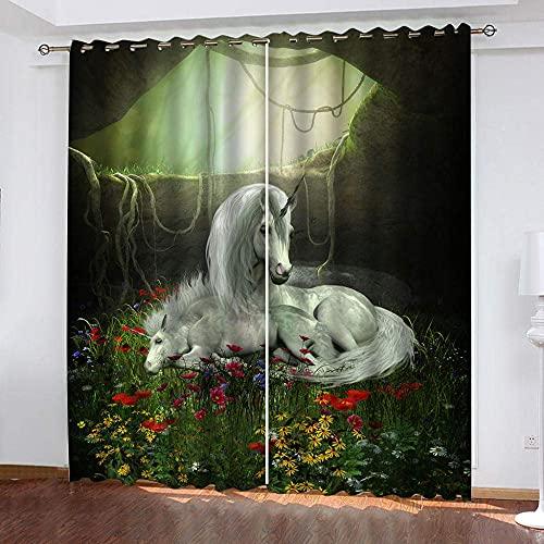fgjorics Tende Oscuranti 3D Erba Unicorno Tende Oscuranti Tende per Ragazzi/Ragazze Tende Stampate per Camera da Letto per Soggiorno/Ufficio, 250 (A) X140 (L) Cmx2