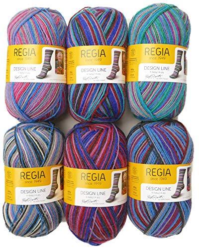 theofeel 6X 100g Sockenwolle Paket Regia Design Line Kaffe Fassett, 600g Sockenwolle Sortiert