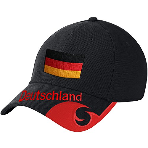 Blackshirt Company Deutschland Schildmütze Fußball Handball Fan Basecap Schwarz Rot Farbe Schwarz