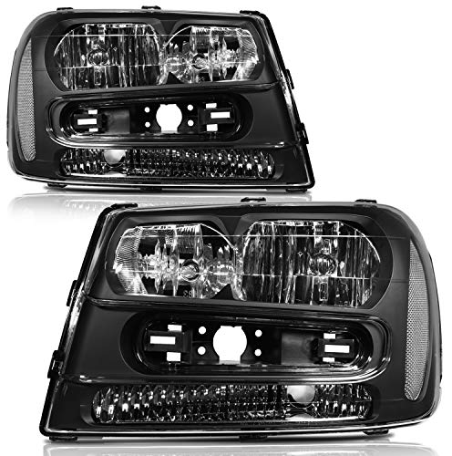 cciyu Headlight Assembly 25970915 2503213 Black Housing Chrome Reflector Clear Lens Headlamps Replacement Fit for Chevrolet Trailblazer 2002-2009,for Chevrolet Trailblazer EXT 2002-2006