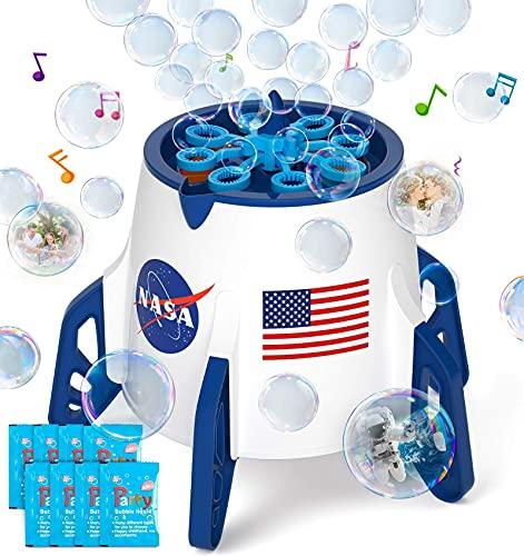 Bubble Machine, Space Rocket Bubble Machine for Toddlers, Kids, 3000+ Bubbles/min Electric Automatic...