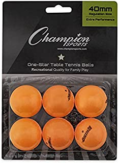 Champion Sports 1 Star Table Tennis Ball Pack - Orange Ping Pong Balls, Set of 6, with 40mm Seamless Design - Recreation Table Tennis Equipment, Accessories