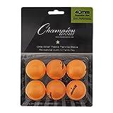 Champion Sports Recreational 1 Star Orange Table Tennis Balls (6 Pack)