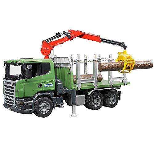 Bruder 03524 SCANIA R-serie houttransport vrachtwagen met laadkran, grijper en 3 boomstammen