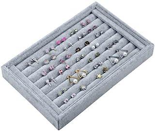 7 فتحات إكسسوارات المجوهرات عرض صندوق تخزين حالة المخملية خاتم عرض حامل حلق مجموعة منظم صينية - 22.5 14.5 3 سم