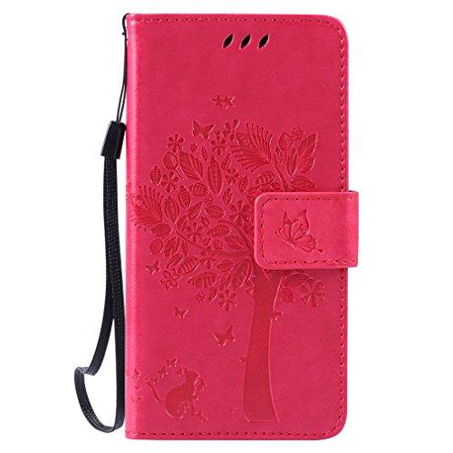 LMAZWUFULM Hülle für Huawei LUA-L21 /Y3 II 4,5 Zoll PU Leder Magnetverschluss Brieftasche Lederhülle Baum & Katzen Muster Standfunktion Schutzhülle Ledertasche Flip Cover Rose Carmine