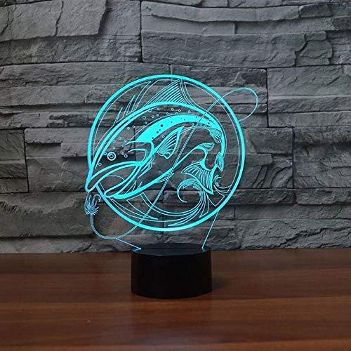 Lámpara de ilusión 3D Luz de noche LED Pesca creativa con 7 colores Visualización de la decoración del hogar Lámpara de escritorio óptica para amigos Los mejores regalos de vacaciones de cumpleañ