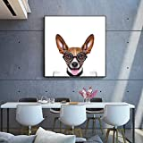 Lovely Dogs Canvas Piantings On The Wall Pictures For Living Room Dog Listening To Music Poster e Stampe Cuadros Wall Decor 60x60 CM (sans cadre)