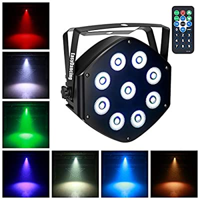Stage Par Light RGBW 9x10W LED Uplighting 8 Channels with Remote DMX for Wedding Event Party Festival DJ Church (1pc)