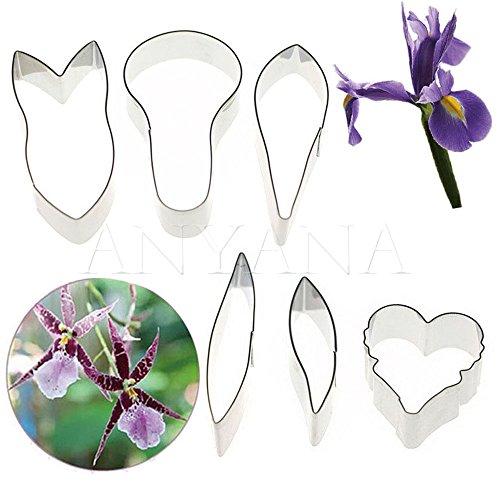 Anyana Orchid Irises flower cutters set of 6pcs gum paste Leaf Cutter Set sugar paste Petal Cookie Cutter Decoration Mold Fondant Sugarcraft Flower Making Tool for Wedding,Birthday Cake
