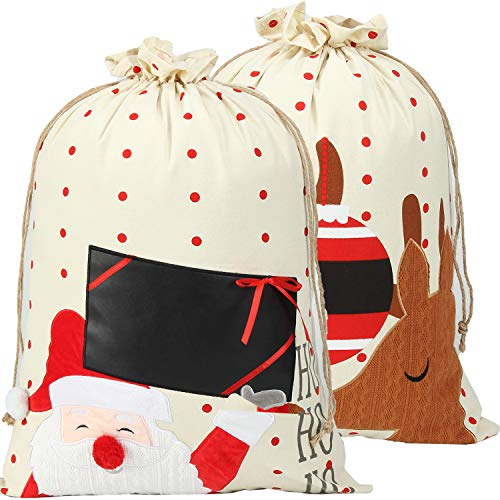 "Santa Sack 2 Pack Christmas Decorations Canvas Santa Bag With Drawstring Xmas Gift Bag Extra Large Christmas Sacks Size 27.5""x19.5"" (xinstyle01)"