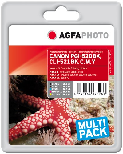Agfa APCCLI521SETD PGI-520 BK CLI-521 Bonuspack Druckerpatrone für Canon, schwarz/cyan/magenta/gelb, Multipack