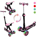 Kick Scooter for Kids, 3 in 1 Scooters Toddlers for Kids, Three Wheels with PU Light-Up, Adjustable Height Back Brake, Kids Scooter & Toddler Scooter for Ages 1-14 Years Old Boys and Girls