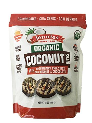 Jennies Organic Coconut Bites, Gluten Free, Peanut Free, Non GMO (Goji, 24 Ounce)