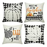 Set of 4 Thanksgiving Throw Pillow Covers Fall Leaves Pumpkin Pillow Case Pillow Cushion Cover for Autumn Decoration Farm Home Car Sofa Bed Couch, 18 x 18 Inch (Fall Buffalo Leaves)