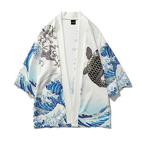 N/ A Ola De Surf Bata Carp Imprimir Suelta Capa del Cabo Recortada De Kimono Hombres Jóvenes RZTZDM (Color : White, Size : XXL)