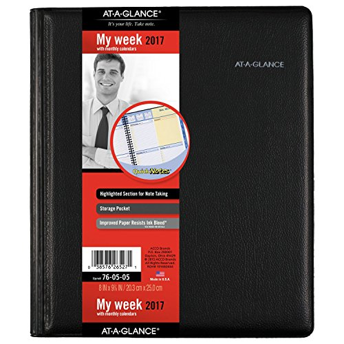 """AT-A-GLANCE Weekly / Monthly Appointment Book / Planner 2017, QuickNotes, 8 x 9-7/8"""", Black (76-05-05)"""