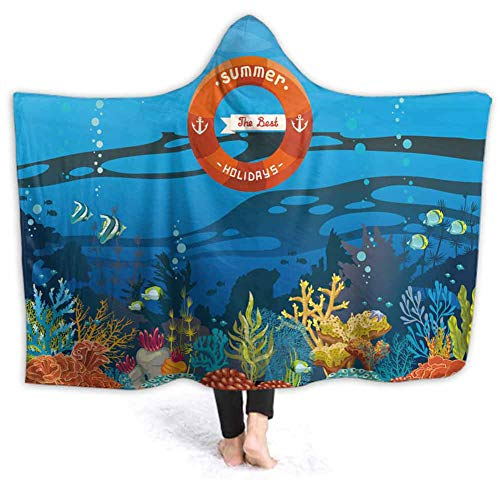 prunushome Hooded Blanket Coral Reef Fish On A Blue Sea Backgroun The Best Summer Comfy Soft Fleece Mink Micro Plush Wrap Throws Blanket Robe for Women and Men, 80W by 60H Inches