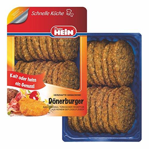 Döner Burger aus reinem Geflügelfleisch - fertig gebratene Frikadellen/ Hacksteaks nach original türkischer Rezeptur 18x80g im Frischepack von Dieter Hein