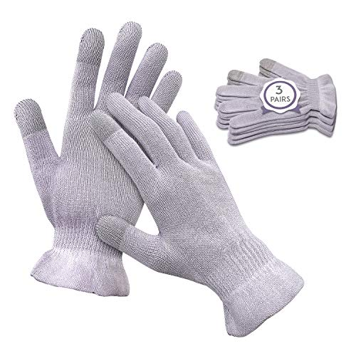 MIG4U Moisturizing Beauty Gloves Touchscreen Cotton Glove for SPA, Eczema, Dry Hands, Cosmetic Treatment, grey 3 pairs size l/xl