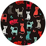 BOSOBO Round Mouse Pad, Cute Cat Mouse Mat, Small Mousepad with Designs, Non-slip Rubber Mouse Pad with Stitched Edges, Customized Animals Mouse Pad for Women Girls Office Dorm Computer Laptop Travel