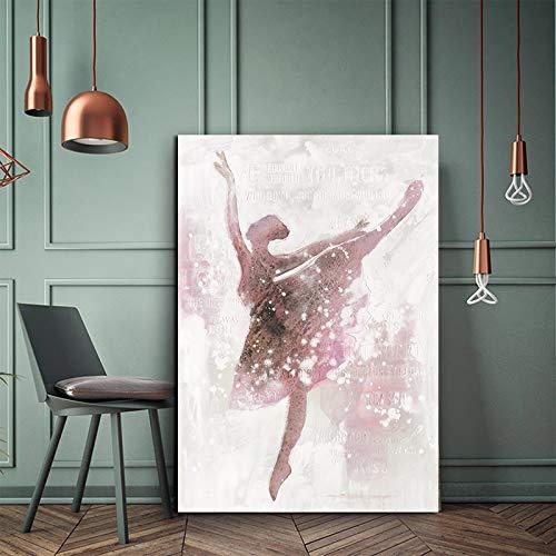 KWzEQ Leinwanddrucke Ballerina Wandplakate und Hausdekoration für Wohnzimmer60x75cmRahmenlose Malerei