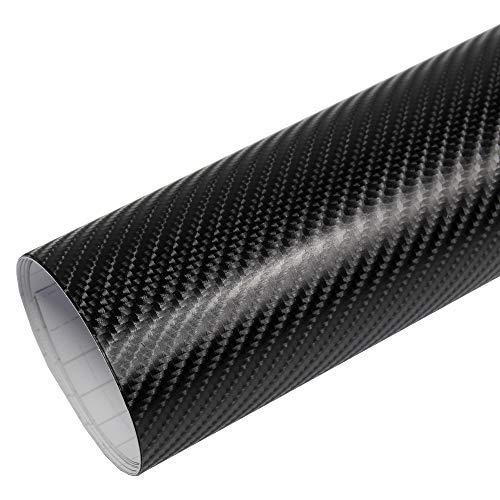Rapid Teck® 5,26€/m² Premium – 4D Carbon Schwarz 2m x 1,52m Auto Folie Blasenfrei mit Luftkanälen für Auto Folierung und 3D bekleben in Matt Glanz und Carbon Autofolie