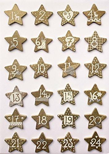 Glorex 61710123 - Holzsterne für Weihnachtskalender mit Zahlen 1 bis 24 - Gold