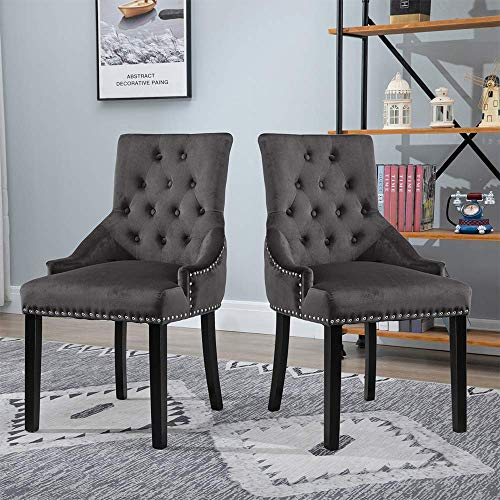DAKEUR Par de sillas de Comedor de Color Gris carbón con Brazos Ring Sillas de Cocina tapizadas en Tela de Terciopelo Suave con Patas de Madera para sillas Laterales Acolchadas de Restaurante de AC