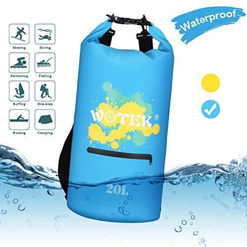 WOTEK Sacca Impermeabile,Dry Bag 20L con Tasca Frontale con Cerniera e Spallacci Regolabili,Borsa Impermeabile per Kayak,Canottaggio,Pesca,Rafting,Nuoto,attività All'aperto e Sport Acquatici(Blu)