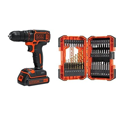 Black & Decker BDCDD120C 20V MAX Lithium Single Speed Drill/Driver w/ 46 pc accessory kit
