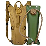AIMILL Tactical Molle Hydration Pack Bag Water Camel Backpack Reservoir Carrier,Tactical Bag with Water Bladder,Camel Backpack Hydration Pack Bladder 3 Liter,Military Class for Running(Tan#3,3l)