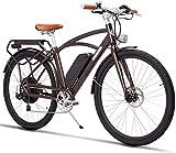 Diseño Retro de la Bicicleta eléctrica de la Ciudad de 26 Pulgadas para Adultos con un Pedal eléctrico Ebike 400W48V Coche eléctrico de Litio Adecuado para Ancianos/Damas/Hombres, 28in, 28in