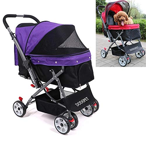Tuzi Qiuge Hund Katze Pet Trolley Cart Yooo (Color : Purple)