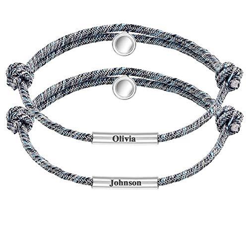 MissChic Partnerarmbänder, Personalisiertes Pärchen Armband mit Gravur, BFF Armbänder für 2, Geschenk für Freund, Bruder,Schwestern, Paar,Partner,Freundschaft