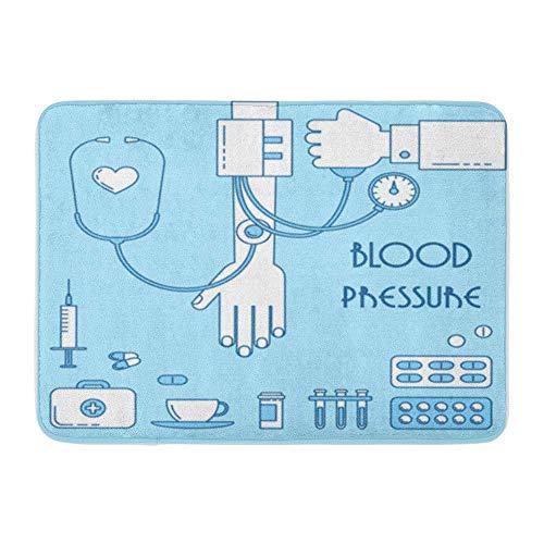 Badematte Flanellstoff Weiches, saugfähiges Mittel gegen Bluthochdruck Kranke Linie Blutdruckmessung Gesundheit Gemütlicher, dekorativer, Rutschfester Badteppich