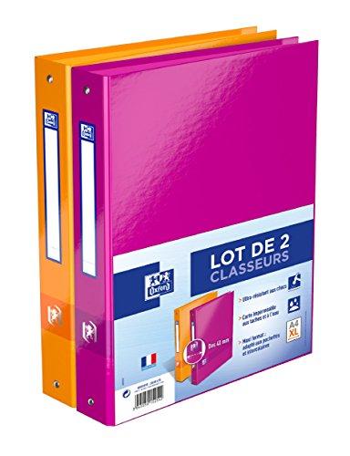 Oxford Lot de 2 Classeurs 4 Anneaux Format A4 XL Dos 40 mm Couleurs Assorties