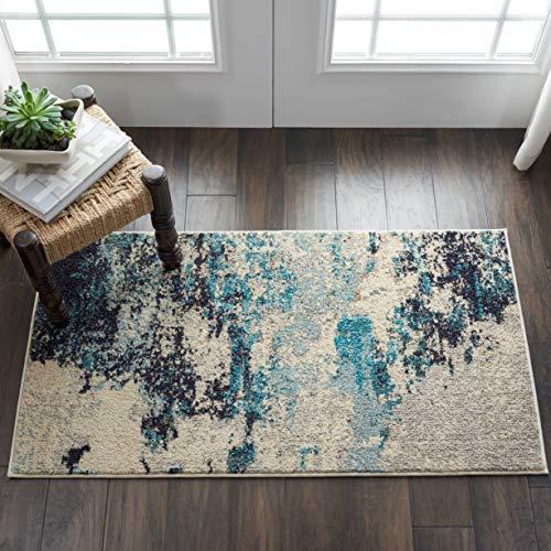 Nourison Moderner Teppich mit abstraktem Abstraktem Design, 70 x 100 cm, Elfenbein/Blaugrün