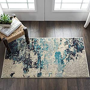 Nourison Celestial Modern Abstract Area Rug, 2'2″ x 3'9″ (2'x4′), Ivory/Teal Blue