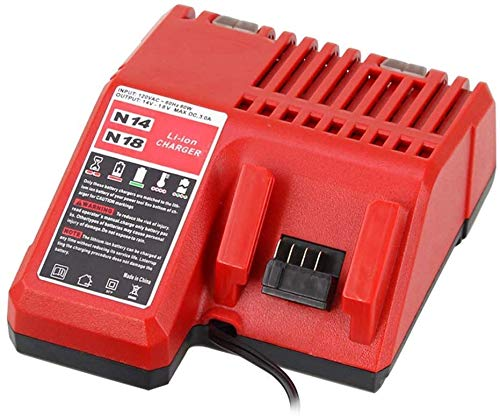 Lithium-ion Battery Charger Multi Voltage Charger Replacement for Milwaukee M18 14.4V-18V 48-11-1850 48-11-1840 48-11-1815 48-11-1828