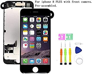 Screen Replacement Compatible with iPhone 8 Plus Full Assembly - LCD 3D Touch Display Digitizer with Front Camera, Ear Speaker and Sensors, Fit Compatible with All iPhone 8 Plus (Black)