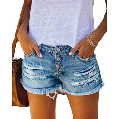 Pantaloncini di Tendenza della Moda Estiva da Donna personalità Pantaloncini di Jeans lavati Strappati con Foro strappato dal Design Unico X-Large